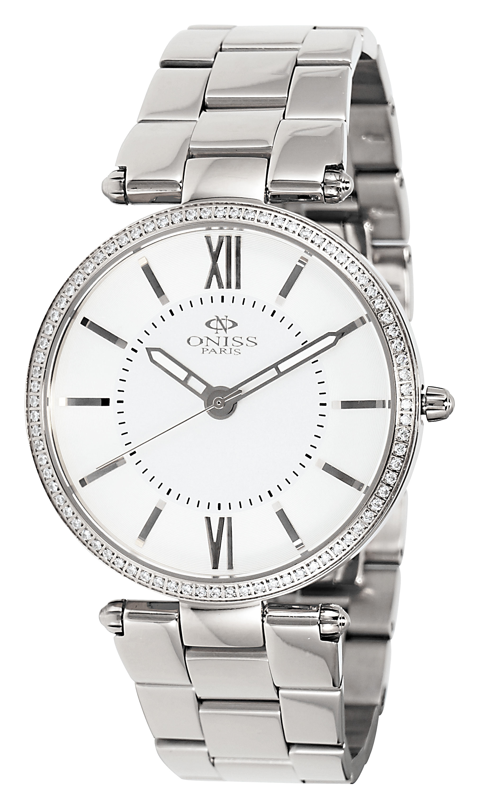 Oniss ON6021 Ladies Stainless Steel and Stone Watch-Silver tone/Black dial/White cz stones. at Sears.com